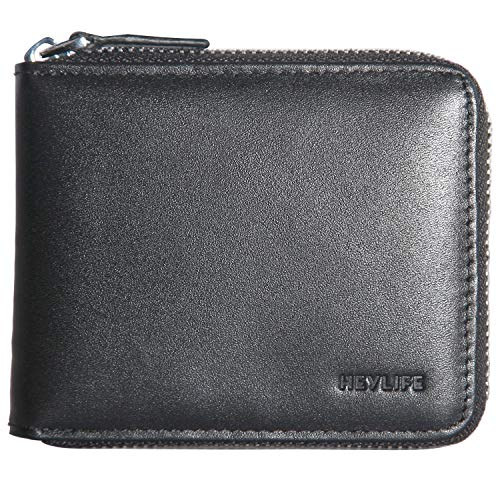 Mens Zipper Wallet Cowhide Leather RFID Blocking Multi Card Holder Cases Purse Bifold Closure ID Window Money Organizers and Coin Pocket (Black)