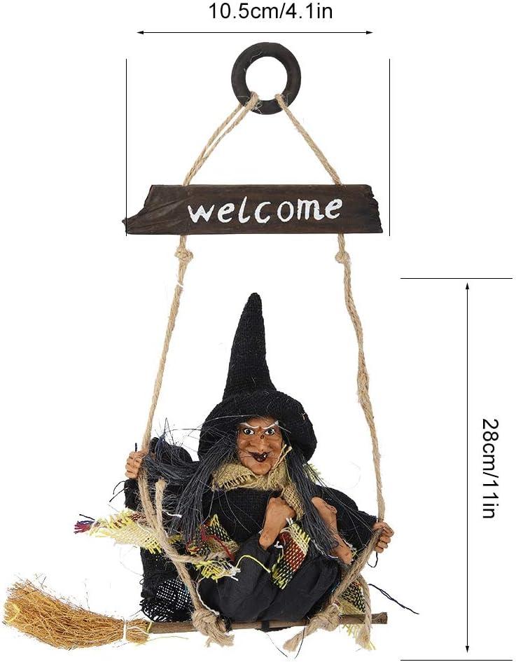 Mumusuki Bruja voladora Colgante Realista con Adorno de decoraci/ón de Escoba Decoraci/ón de Puerta Segura y no t/óxica para Halloween Gris