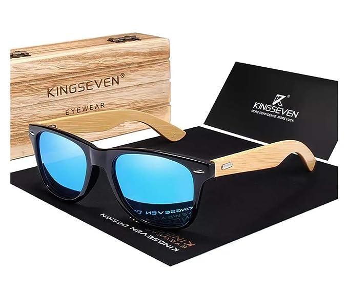 Amazon.com: Gafas de sol Kingseven de bambú 2019 cuadradas ...