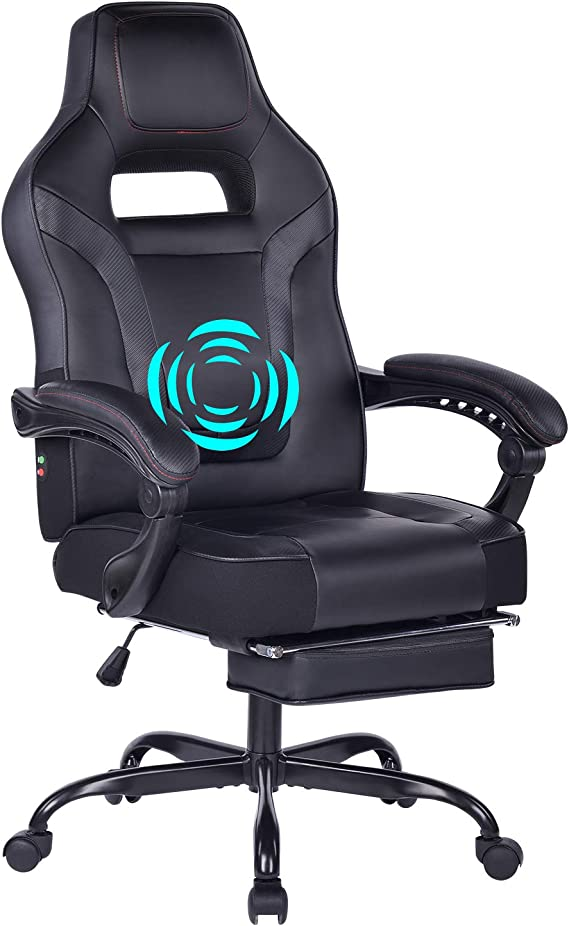 HEALGEN Reclining Gaming Chair with Large Lumbar Support Cushion Racing Style Video Game PC Computer Gamer Gaming Chairs Ergonomic Office High Back Chair with Headrest (9076 Black)