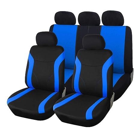 upgrade4cars Fundas Asientos Coche Universales Azul Negro | Funda para Asiento Coches | Accesorios Interior Universal