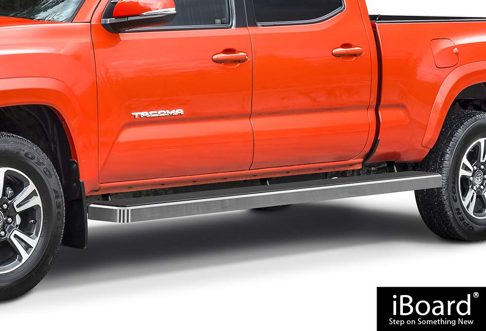 APS iBoard Running Boards (Nerf Bars | Side Steps | Step Bars) for 2005-2019 Toyota Tacoma Double/Crew Cab Pickup 6ft Bed | (Silver 6 inches Wheet to Wheel)