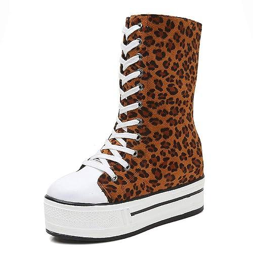 711508a037bd JIANGfu Fashion Women Autumn Winter Leopard Print Non-Slip High-Top Shoe  Thick Bottom Boot Ladies Leisure Round Toe Zipper Flat Casual Shoes   Amazon.co.uk  ...