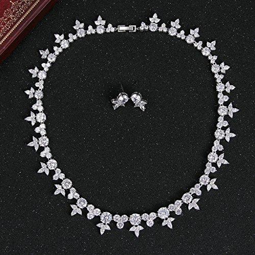 Gnzoe Plaqué Rhodium Femme Feuille Triangle CZ Diamant(Lab Créé) boucles d'oreilles & Collier Clair Ton Parures