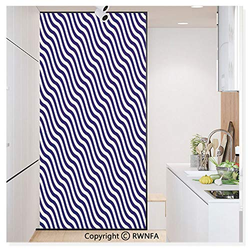 Non-Adhesive Privacy Window Film Door Sticker Wave Like Striped Lined Design on Dark Blue Background Artwork Glass Film 23.6 in. by 78.7in. (60cm by 200cm),Dark Blue and White