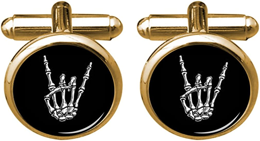 ZUNON Hand Cufflinks Rock X-Ray Skull Hand Halloween Shirt Cufflinks & Tie Tack Doctor Father Birthday Gift