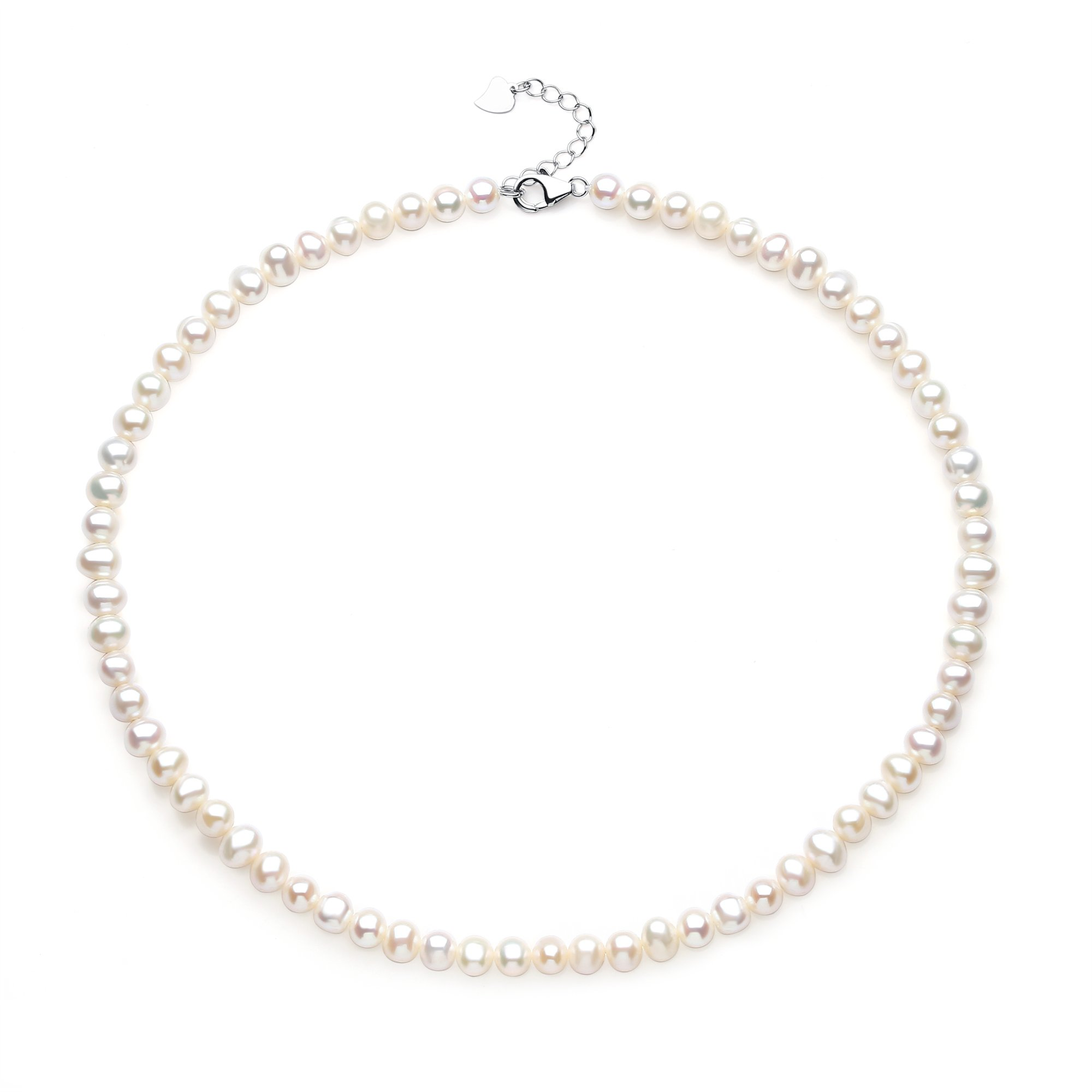 Sterling Silver Oval White 5.5-6 mm Freshwater Cultured Pearl Necklace Strand