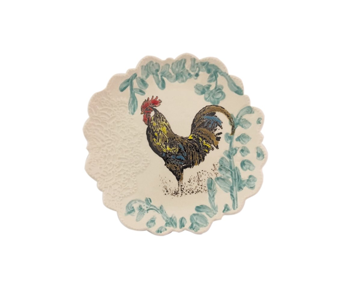 Blue Sky Ceramic 8'' Hanna's Farm Rooster Salad Plate