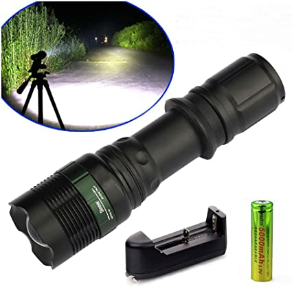 Tactical XM-L T6 LED Flashlight Zoom Torch Light Lamp 18650 Battery+US Charger