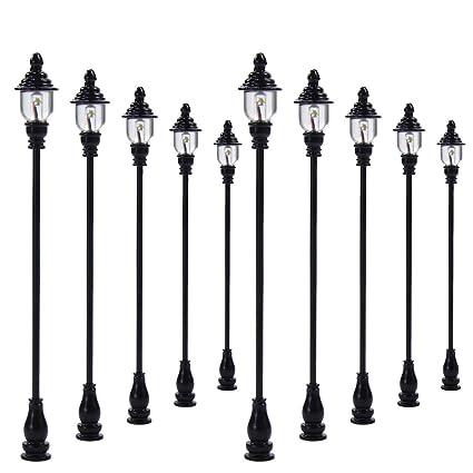 Evemodel Lqs21 10pcs Model Railroad Train Lamp Posts Led Street Light Lamps Oo Ho Scale