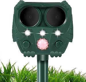 Ultrasonic Dog Chaser, Animal Deterrent with Motion Sensor and Flashing Lights Outdoor Solar Farm Garden Yard