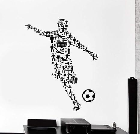 Jugador de fútbol decoración de la pared calcomanía de vinilo ...