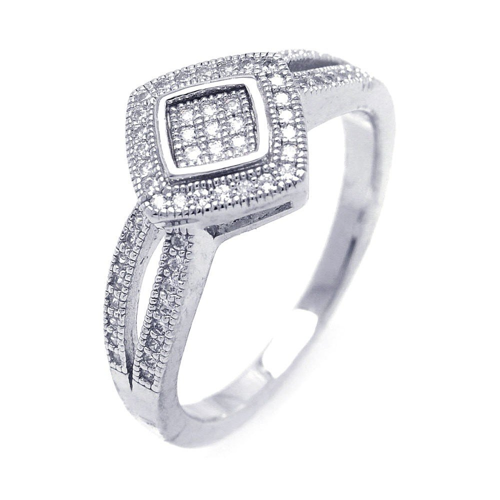 Princess Kylie Pave Set Square Shaped Cubic Zirconia Split Shank Ring Rhodium Plated Sterling Silver