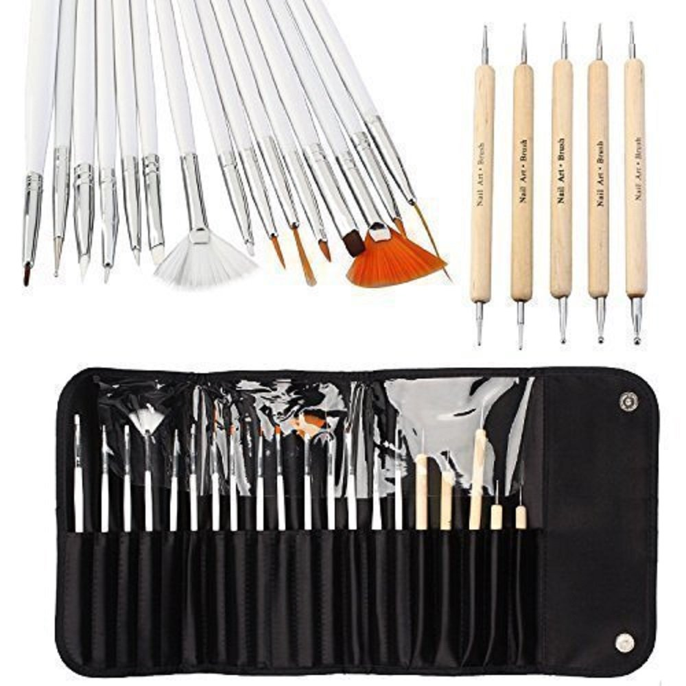 20pcs Nail Art Brushes Nail Art Design Painting Detailing Brushes & Dotting Pen Tool Kit Set -15 Brush + 5 Dotting Pen Moulis