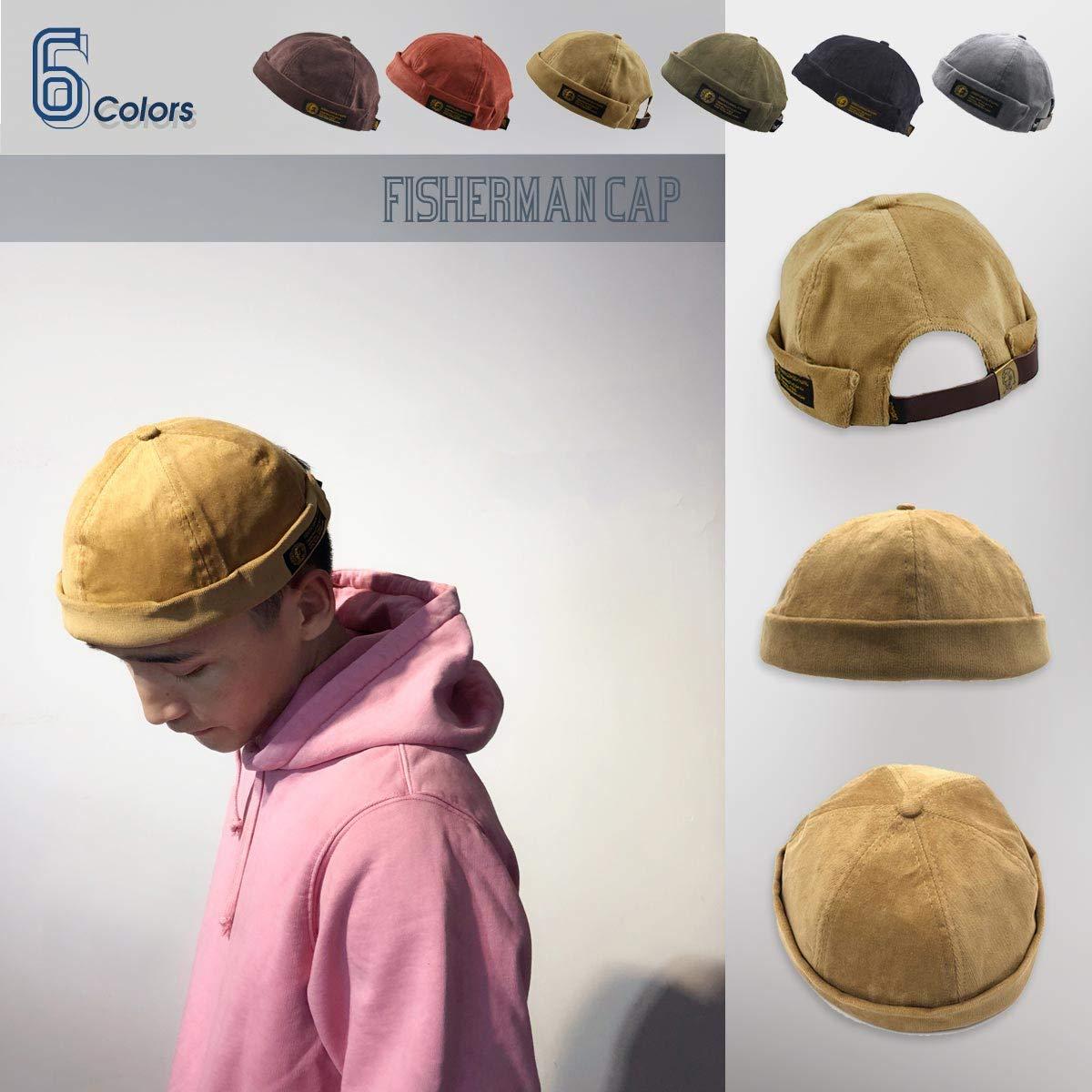 79636e238e1fd Amazon | 帽子 キャップ フィッシャーマンキャップ ロールキャップ サグキャップ ツバ無し メンズ レディース フィッシャーマンキャップ  おしゃれ 無地 セーラー帽 ...