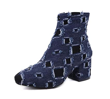 Mujer Vaquero Tobillo Botín 7Cm Grueso Talón Denim Hollow Vestido Botas Casual Corte Zapatos UE Tamaño