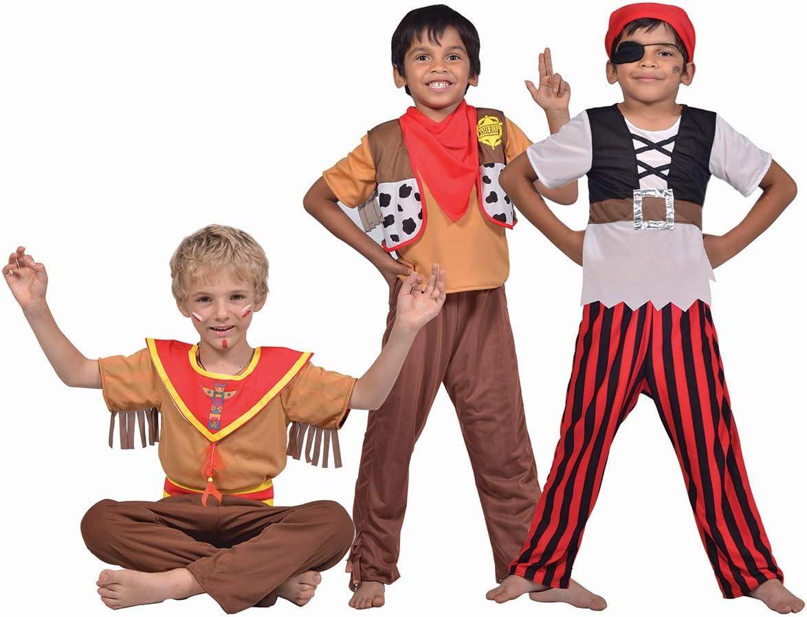 Disfraz 3 en 1 Pirata Sheriff Indio niño: Amazon.es: Juguetes y juegos