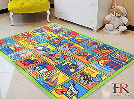 Kids Rugs Handcraft Rugs Green Geometric ABC Alphabet Mat For Classroom And Childrenu0027s  Room Non Slip Gel Back / Game Carpets For Kids, Kids Toy, ...
