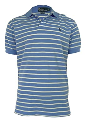 Polo Ralph Lauren Men\u0026#39;s Classic-Fit Striped Mesh Polo, Harbor Island Blue/White