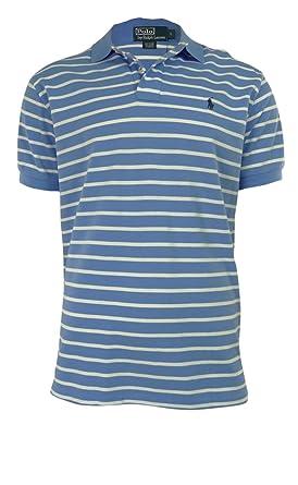 Polo Ralph Lauren Men\u0026#39;s Classic-Fit Striped Mesh Polo, Harbor Island Blue/White