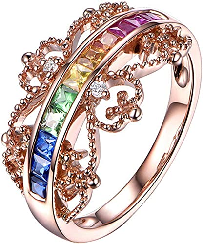 Amazon Com Color Spectrum Zirconia Ring For Women Girls Unique