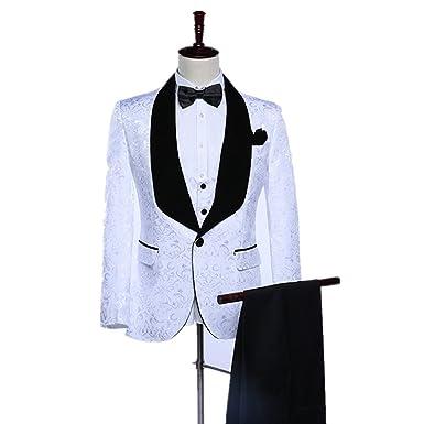 Maxudrs 2018 Shawl Lapel Slim Fit Groom Tuxedos White Men Suits Men