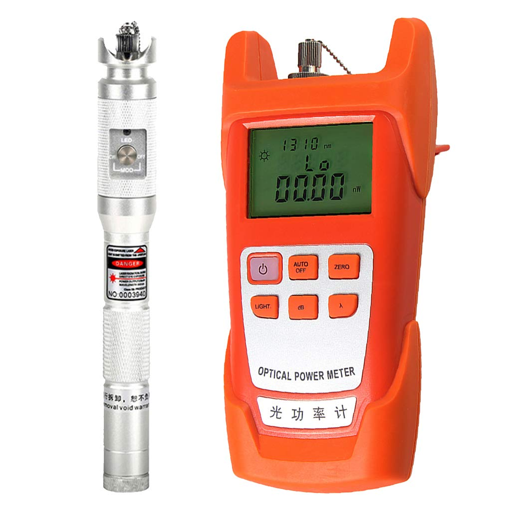 SM SunniMix 1Set -70dBm~+10dBm 850~1625nm Optical Power Meter Tester FC SC Handheld Optical Power Meter + 20mW Visual Fault Locator Pen Silver
