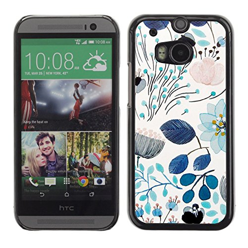 All Phone Most Case / Hard PC Metal piece Shell Slim Cover Protective Case for HTC One M8 Spring Teal Blue Floral Pattern Flowers