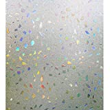 wall panel covering - Bloss 3D Window Films Privacy Window Cling Static Decorative Film Non-Adhesive Window Stiker - 17.7 inch x 78.7 inch