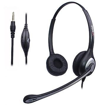 Auriculares Teléfono Móvil Binaural con Cancelación de Ruido Micrófono, WANTEK Cascos Diadema para iPhone Samsung