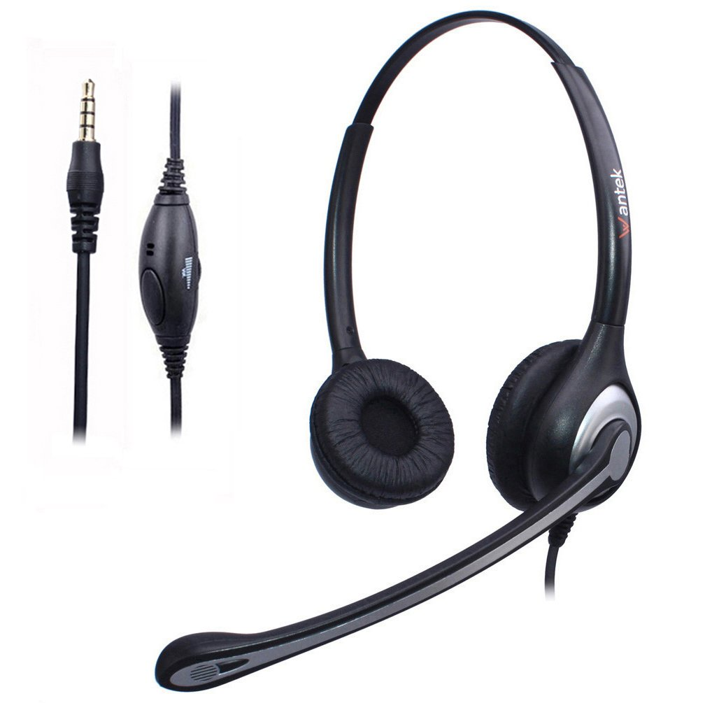 Wantek Wired Cell Phone Headset Dual with Noise Canceling Mic and Adjustable Fit Headband for iPhone Samsung Huawei HTC LG ZTE BlackBerry Mobile Phone and Smartphones with 3.5mm Jack(F602J35)