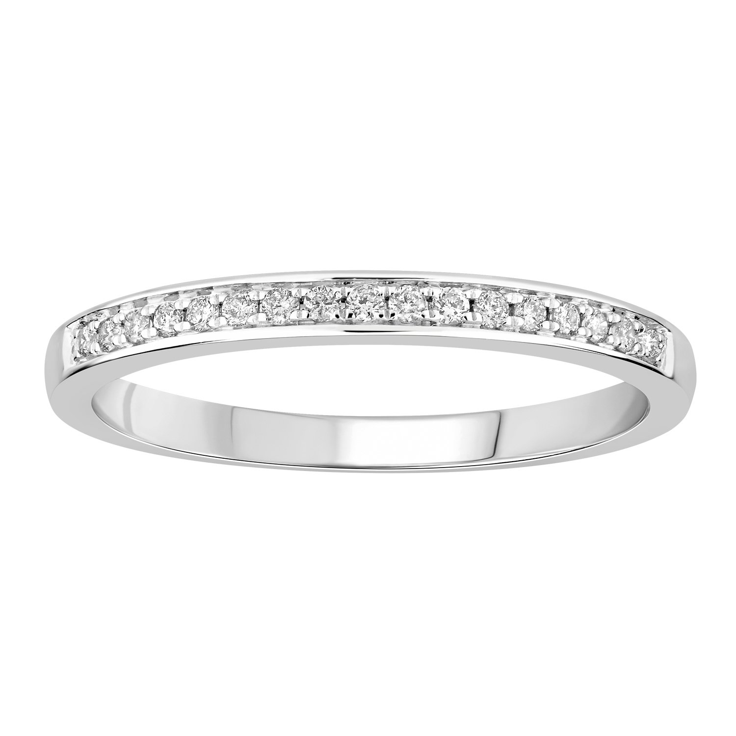 0.14 cttw 14k Gold Round I-J White Diamond Ladies Anniversary Wedding Band Stackable Ring (white-gold, 9)