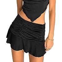 Women Sexy Ruched Ruffle Skirt Stretch Tennis Skater Short A-Line Skirt