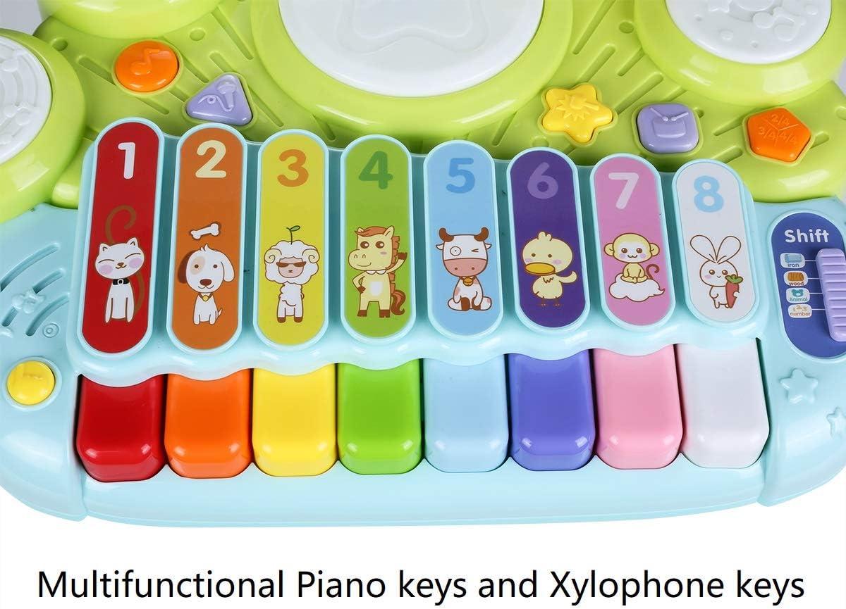 Amazon.com: NuoPeng 3 en 1 Piano Piano Beat Drum Take Along ...