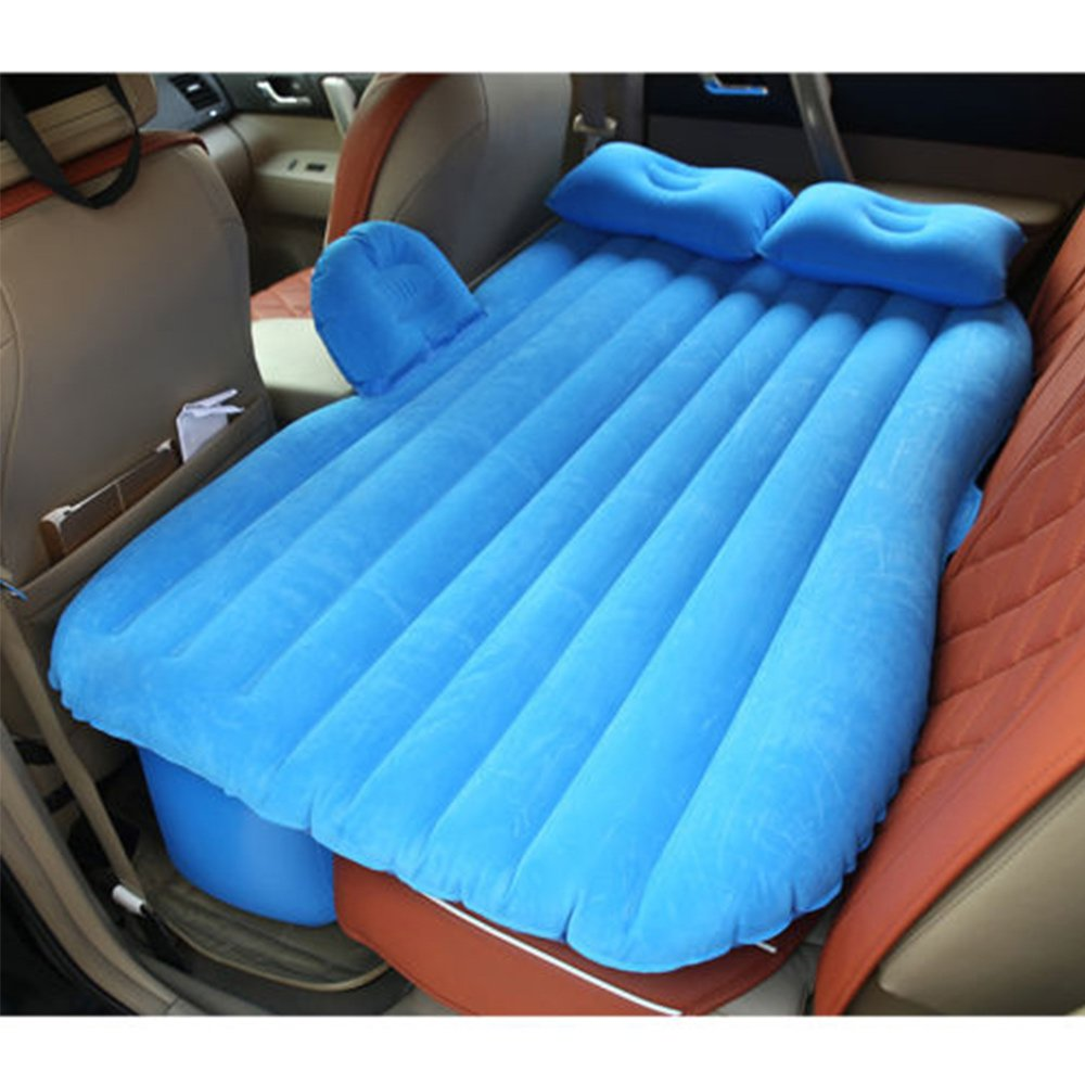 Super PDR Portable Travel Camping Outdoor Air Bed Auto Car Inflatable mattresses with Pump Universal SUV Back Seat Couch 53 X 16 X 32IN(Blue with Baffle)