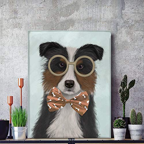Nursery Dog Print - Border Collie Tricolor Glasses Bowtie - Dog Funny Gift Scottish Sheepdog Canvas Large Framed Present for him Unique Art No-Frame