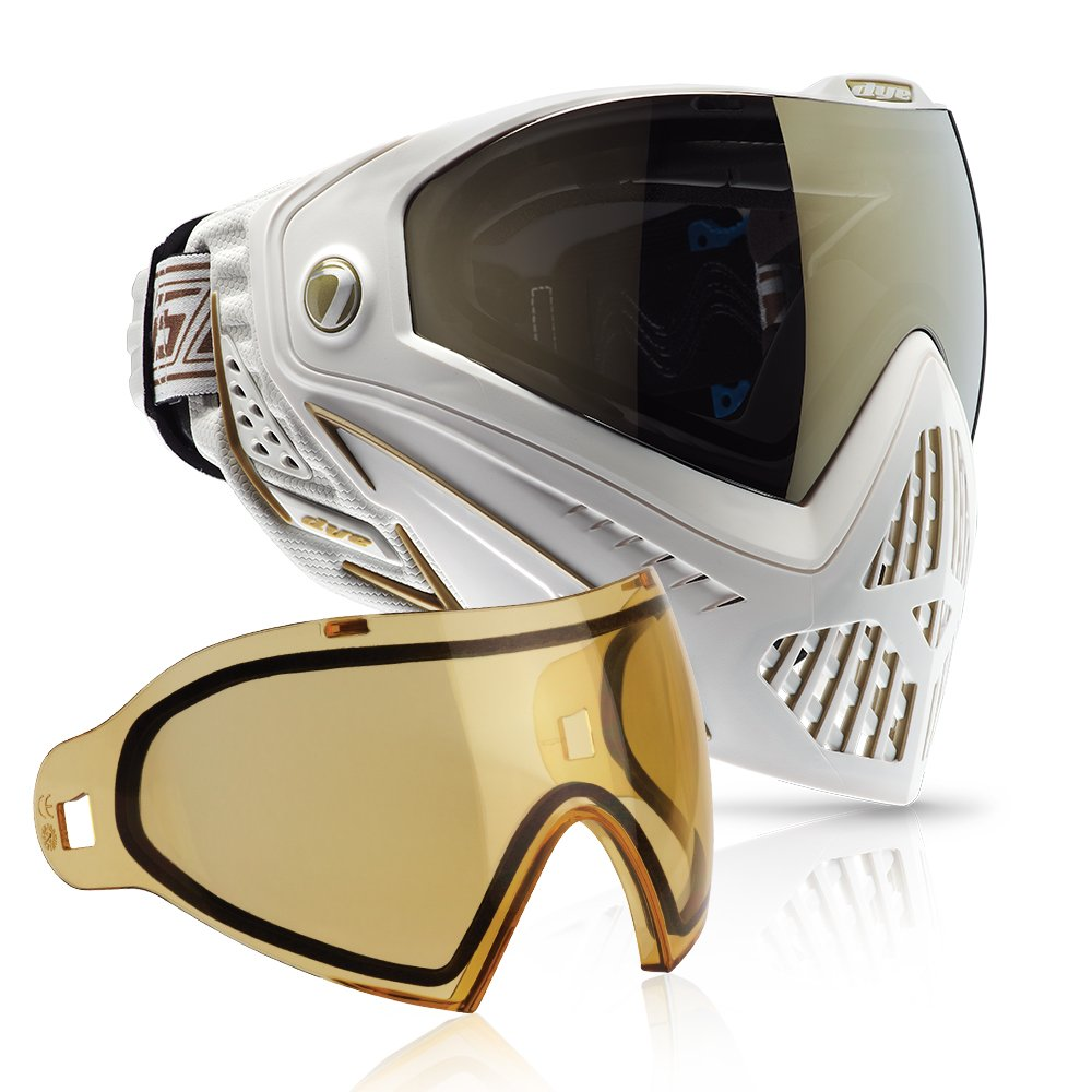 Dye i5 Paintball Goggle (White/Gold with HD Thermal Lens Combo) by Dye