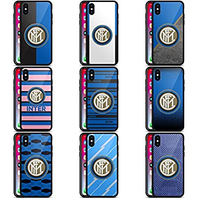 Official Inter Milan 2017/18 Crest Black Hybrid Glass Back Case for iPhone X