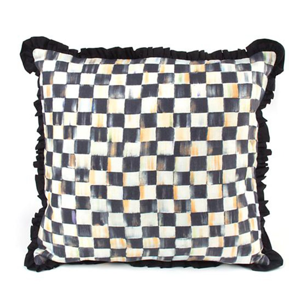 MacKenzie-Childs Courtly Check Ruffled Square Pillow 18'' x 18'' by MacKenzie-Childs