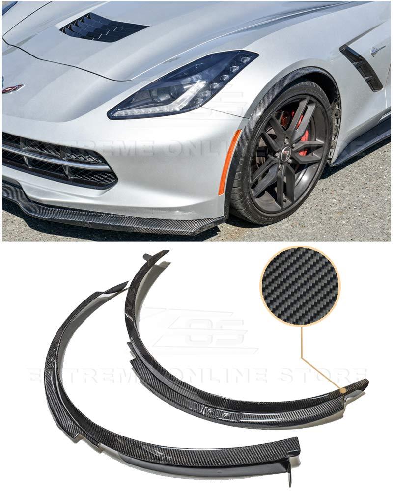 Extreme Online Store Replacement for 2014-Present Chevrolet Corvette C7 | Z06 Z07 Style Carbon Fiber Front Wheel Trim Molding Lip Fender Flares Pair EOS-FF-124-BKCF