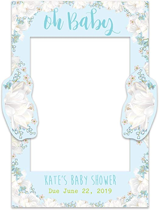 Paper Themes Personalised Baby Shower Selfie Frame Watercolour Flowers Baby Shower Selfie Frame
