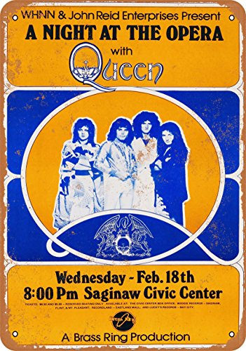(Wall-Color 7 x 10 METAL SIGN - 1976 Queen A Night at the Opera in Saginaw - Vintage Look)