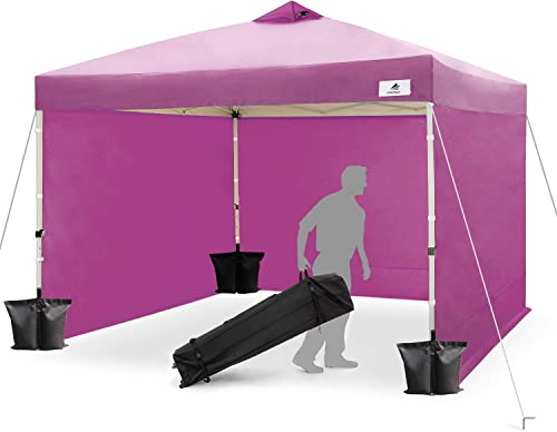 Finfree 10×10 FT Compact Ez Pop up Canopy Tent Outdoor, Folding Canopy Tent, Instant Canopy with 5 Walls and Wheeled Carry Bag, Purple