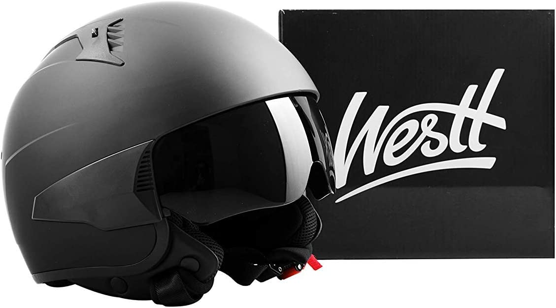 Westt Vintage Jethelm Motorradhelm Helm Matt Schwarz ECE Zertifiziert Retro Stil