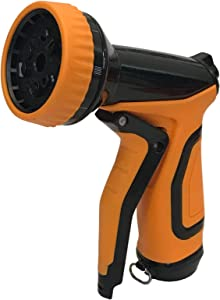 MAXFLO Garden Hose Nozzle | Metal Hose Spray Nozzle | Water Hose Nozzle Sprayer | Gardening 9 Adjustable Watering Patterns, Slip and Shock Resistant for Watering Plants, Cleaning and Car Wash Orange