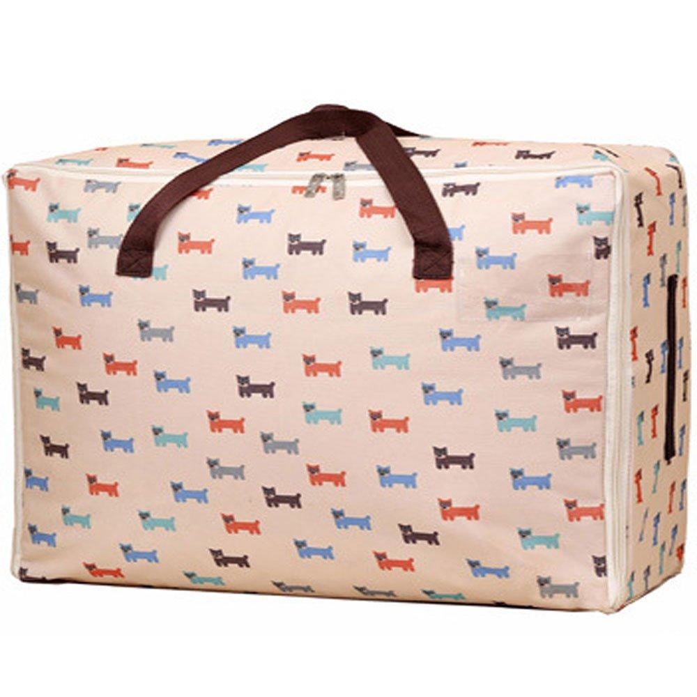 Moisture Proof 100L Large Foldable Storage Bag for Bed, Comforters, Blanket, Clothes Under Bed Storage -Heavy Duty 1LB Organizer, 600D Oxford Bag (Little Dog Pattern)