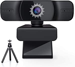 HD Webcam with Tripod Stand, 1080P Autofocus USB Camera with Microphone, PC Webcam for Video Calling & Recording Video Conference/Online Teaching/Business Meeting Compatible