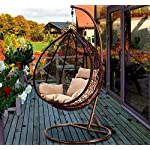 Hanging egg Chair in a lawned garden