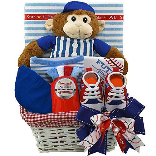American All Star Baby Boy Baseball Gift Basket with Teddy Bear