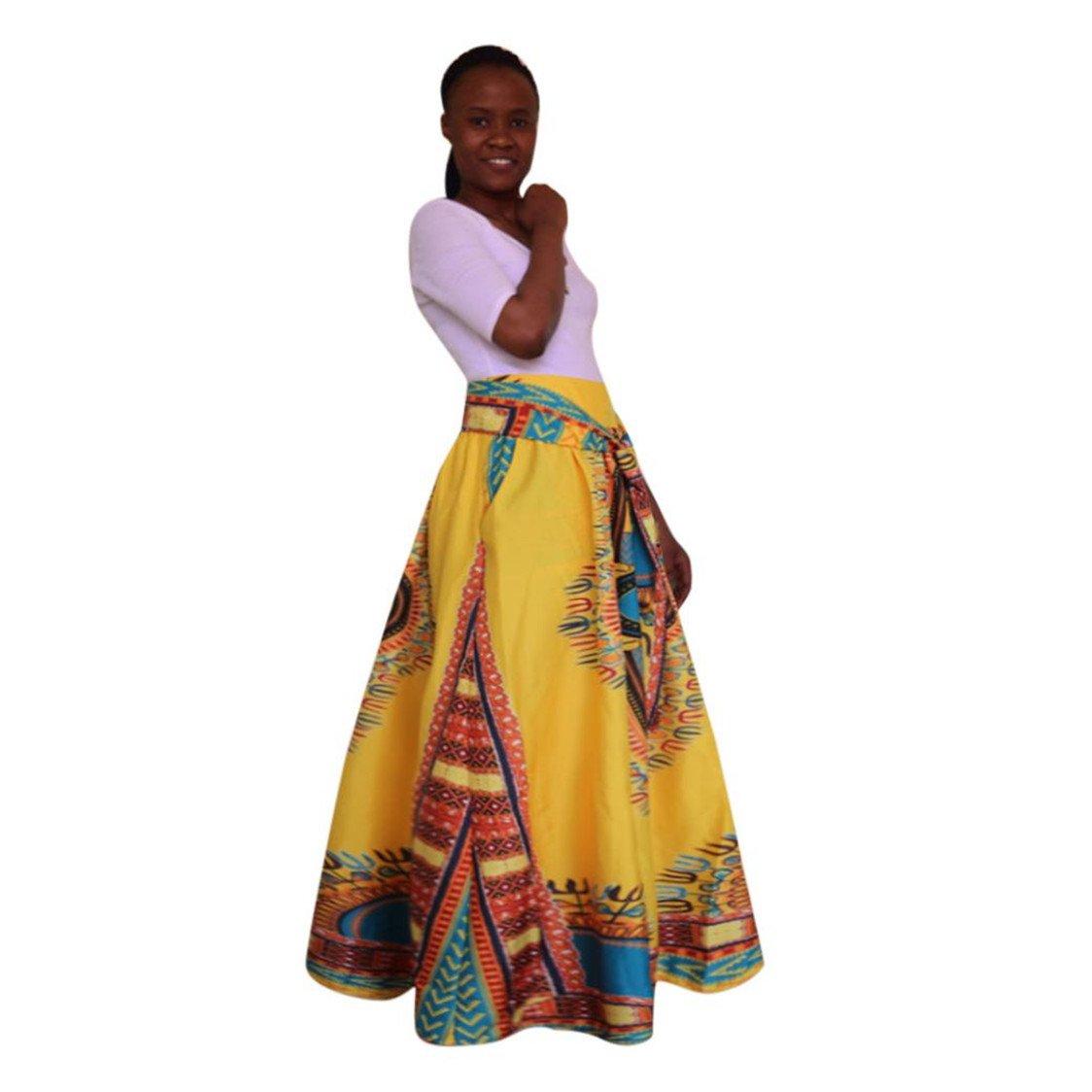 TIFENNY Women's Dashiki Print Chiffon High Waist Party Boho Ankara Maxi African Style Long Skirt with Sashes (XL, Yellow)
